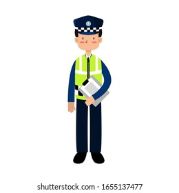ILLUSTRATION VECTOR POLICE ARE REGULATING TRAFFIC WITH BRINGING NOTES