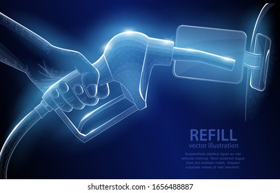 Illustration vector polygonal concept, a hand holding a fueling gun, on a dark blue background, a symbol of internal combustion engines, and the era of hydrocarbons.