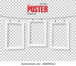 Illustration of Vector Poster Frame Mockup. Realistic Vector EPS10 Paper Poster Set on Bended Wire Isolated on PS Style Transparent Background