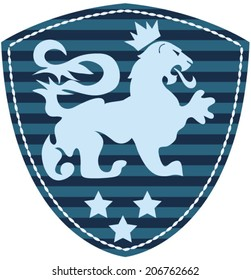 Illustration vector protection shield with lion with stars.