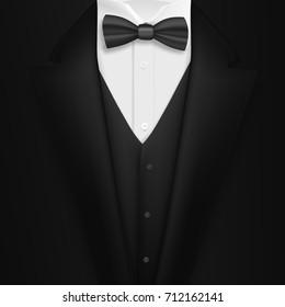 Illustration of Vector Realistic Black Suit. Photorealistic 3D Mens Elegant Tuxedo Suit with Bow Tie