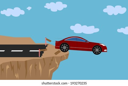Illustration (vector) of a red car that is speeding off a cliff.