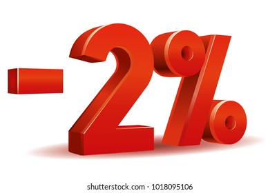 illustration vector in red color of 2 percent isolated in white background