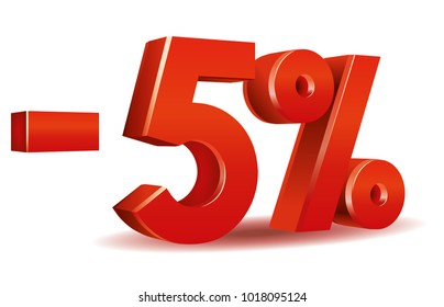 illustration vector in red color of 5 percent isolated in white background