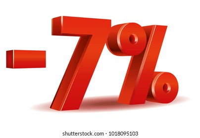 illustration vector in red color of 7 percent isolated in white background