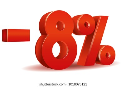 illustration vector in red color of 8 percent isolated in white background