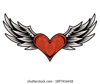 Illustration vector red heart wings