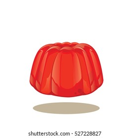 illustration vector . Red jelly pudding isolated on a white background.
