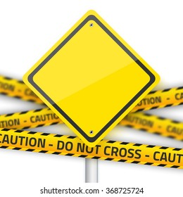 Illustration of Vector Road Yellow Sign with Yellow Police Strip. Realistic Vector EPS10 Isolated Road Sign
