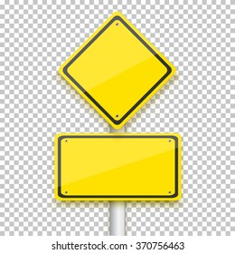 Illustration of Vector Road Yellow Sign. Realistic Vector EPS10 Isolated Road Sign