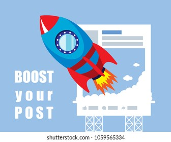 Illustration vector of rocket launch with post on social media as success concept on content marketing