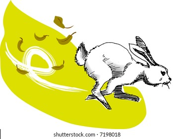 illustration, vector for a running rabbit