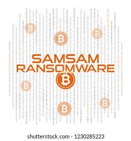 Illustration vector: SamSam ransomware flat design