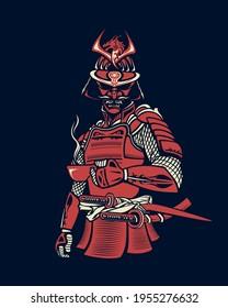 Illustration in vector of samurai drinking coffee