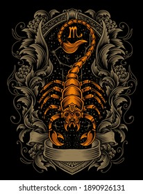 illustration vector scorpion with engraving ornament.