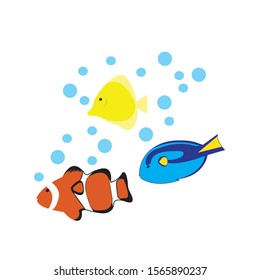 illustration vector :Illustration of a sea with a nemo fish  ,for gretting card , baby clothes , child room poster