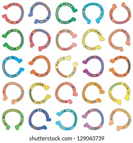 Illustration of vector seamless background made from colorful cartoon horseshoes