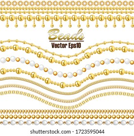Illustration vector set of beautiful chains of gold and white beads realistic