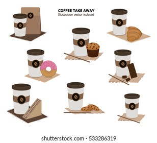 Illustration vector set of coffee cup takeaway with snack.