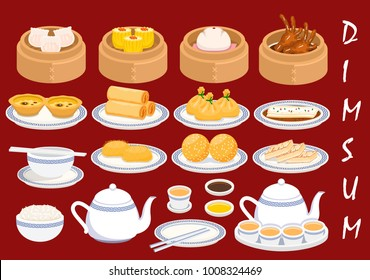 Illustration vector set of dim sum Asian food isolated for Chinese meal table setting, Crystal Skin Shrimp Dumplings,bun,egg tart,spring roll,sesame ball,rice,chicken feed,noodles,turnip cake,wonton