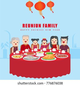 Illustration vector set of fine Chinese food dish on table and dinner of happy reunion family as concept on Chinese new year day at restaurant.