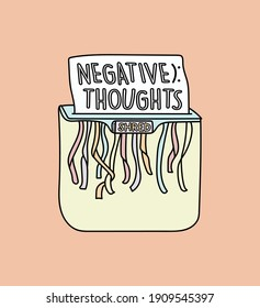 """illustration vector of a shredder shredding a paper with the text  """"negative thoughts"""" written on it. Conceptual motivational drawing, inspiration to get rid of bad negative thoughts. Be happy."""