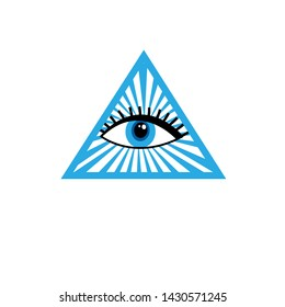 Illustration vector sign beautiful all-seeing eye isolated on white background.