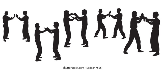 Illustration vector silhouettes group of people training Wing Chun Kung Fu system. Black silhouettes of men on white background
