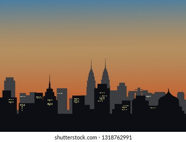 Illustration Vector: Silhoutte Cityscape background