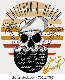 Illustration vector skull with palms and cap