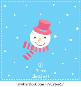 Illustration vector of snowman face decorated with snow on blue background for Merry Christmas festival.