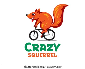 Illustration of a vector squirrel. Logo of a crazy squirrel on a Bicycle.