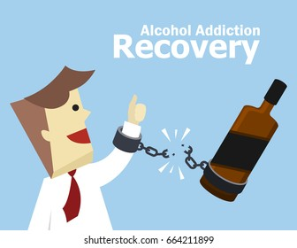 Illustration Vector Success Concept Of Alcohol Addiction Recovery Young Business Man Hold Broken Shackle With