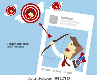 Illustration vector of target audience as online social media marketing concept. Teen business on page is shooting flying target group of consumer by archer and arrow.