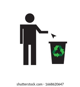 Illustration vector of throw it in the trash icon with white background fit for website and mobile apps, rubbish bin and man icon