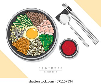 Illustration vector of tradition Korea food set menu on white background