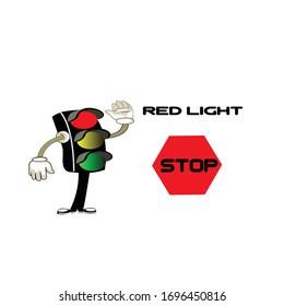 Illustration vector of traffic light. Children's traffic light education Illustration.
