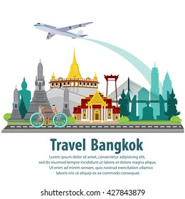 illustration vector. Travel the world by plane. Travel around bangkok by plane. Travel and Famous Landmarks in bangkok architecture design.
