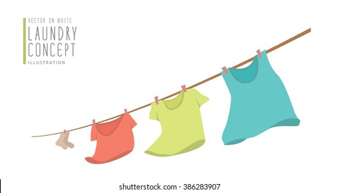 Illustration vector t-shirts hanging on a clothesline.on windy day flat style.