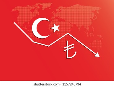 Illustration vector: Turkish Lira Exchange currency rate fall