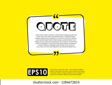 Illustration vector of typography design. Remark quote text box poster template concept. blank empty frame citation. Quotation paragraph symbol icon. double bracket comma mark. bubble dialogue banner.