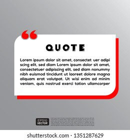 Illustration Vector: typography design. Remark quote text box poster template concept. blank empty frame citation. Quotation paragraph symbol icon. double bracket comma mark. bubble dialogue banner