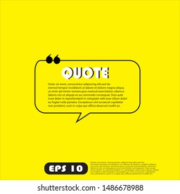 Illustration vector: typography design. Remark quote text box poster template concept. blank empty frame citation. Quotation paragraph symbol icon. double bracket comma mark. bubble dialogue banner.
