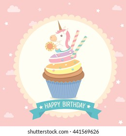 Illustration vector unicorn cupcake on pink background with blue ribbon for party invitation greeting or happy birthday card.Cute style.