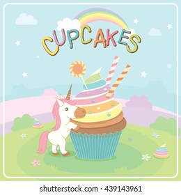 Illustration vector of unicorn cupcakes on cute concept design in fairy background for greeting card.