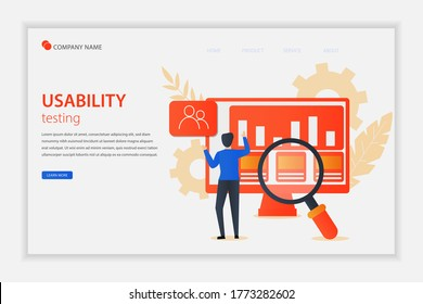 Illustration vector Usability testing concept landing page with the young man is testing the interface usability of website and application. Suitable for landing page, editorial, flyer, banner.