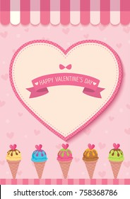 Illustration vector of various ice cream cone with heart on pink background cafe for Valentine's day