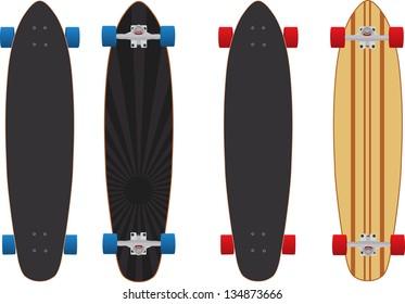 Illustration vector version 8 of two different longboard skateboard