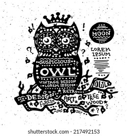 Illustration of vector vintage grunge label with an owl