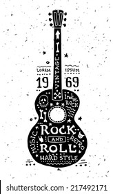 Illustration of vector vintage grunge label with guitar